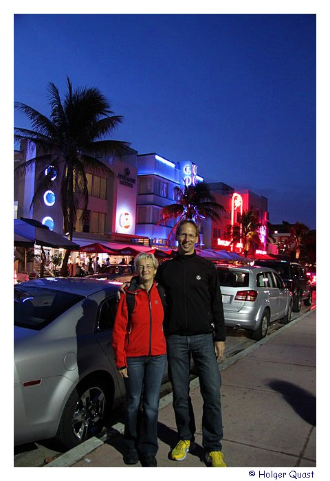 Ela und Holger am Ocean Drive in Miami Beach